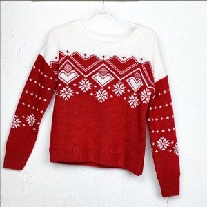 NWT Ruby Moon | Red & White Heart Sweater S